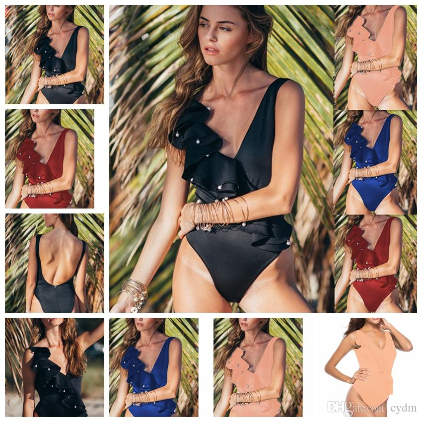 2f47e6a858 2019 European Style Hot Solid Sexy V Neck Sleeveless Ruffled Beaded Tight One  Piece Swimsuit Black Blue Apricot Support Mixed Batch From Cydm, ...