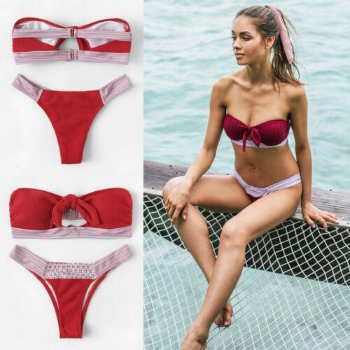 d1599102c86 2019 Womens Bikini Set Knoten Bandeau Boob Tube Top Push-Up Padded Swimwear  Swimsuit