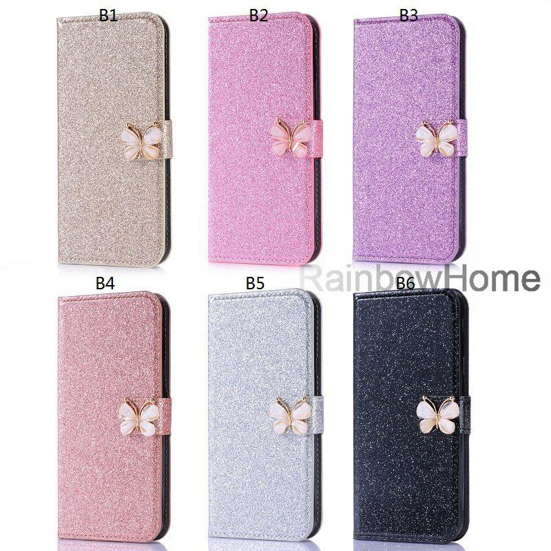 Bow-knot diamant glitter bling brieftasche ledertasche für iphone xs max xr 8 7 samsung s9 s10 plus a6 a8 2018 p30