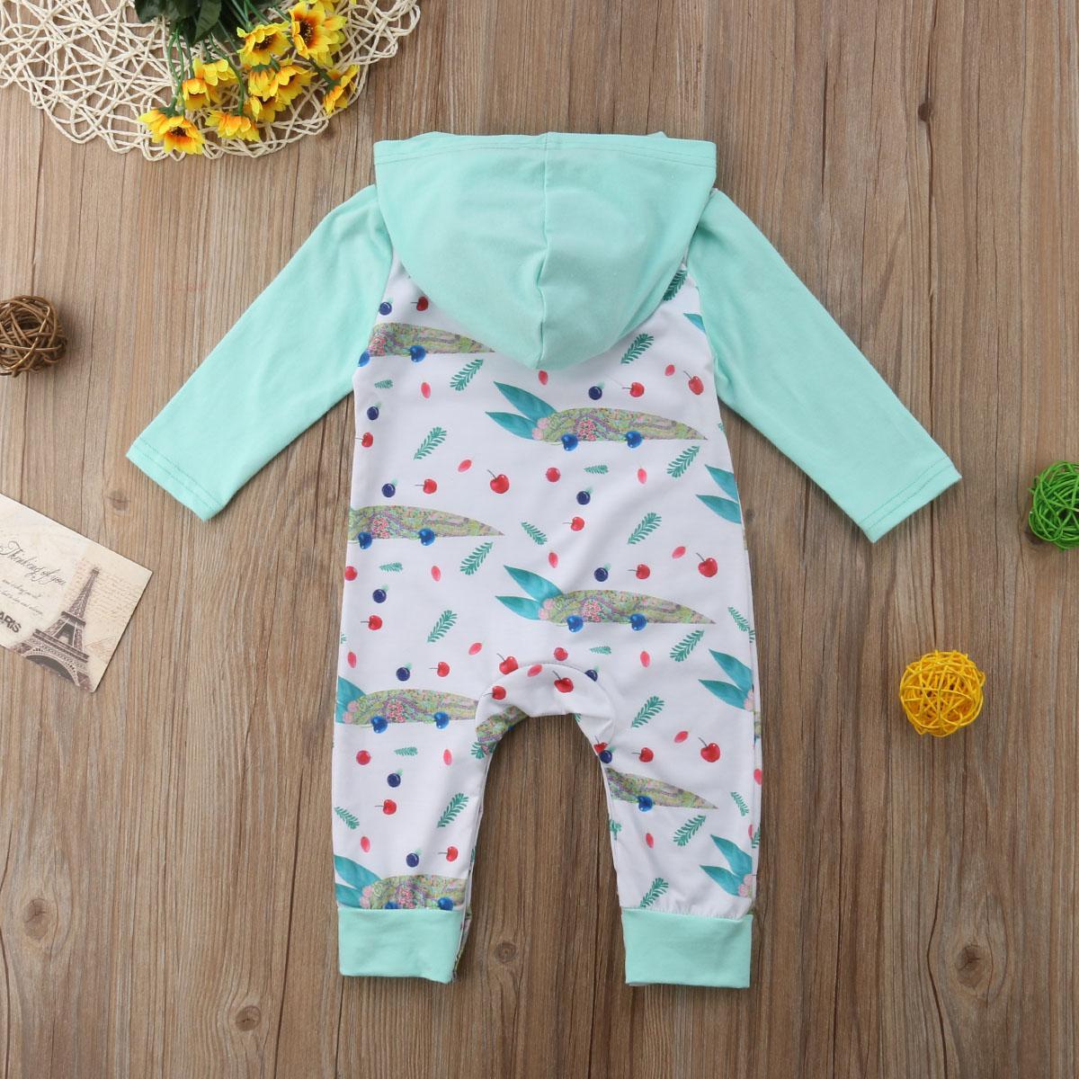 Neugeborenes Kind-Baby-Mädchen-Outfits Kirschen Overall mit Kapuze lange Hülsen-Spielanzug sunsuit Kleidung