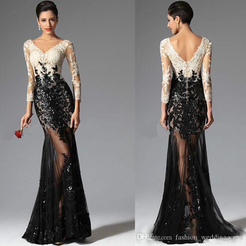 2019 fashion High Quality Evening Gowns Sleeves Long Prom Gowns Formal Mermaid Sheath V Neck Ivory White Champagne and Black Lace See Throu