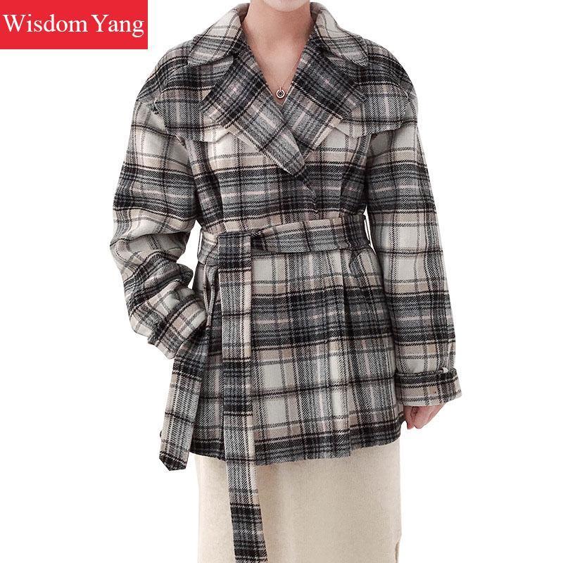41b1b05963 2019 Winter Warm Black White Plaid Wool Coat Jackets Sheep Woollen Coats  Womens Belt Oversize Jacket Ladies Woolen Overcoat Outerwear From  Suspender, ...