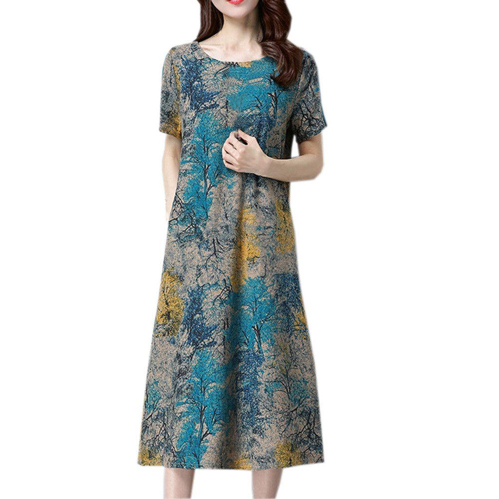 Summer Women Dress Plus Size Fashion Women Short Sleeve Cotton Linen  Dresses Printed Casual Mid -Calf Dresses