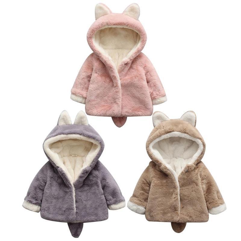 620780ef0 Baby Girls 2019 Winter Warm Coats Cute Bunny Fleece Coat Fake Fur ...