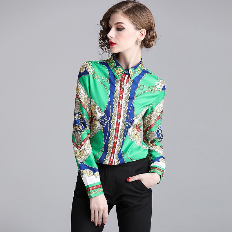 finest selection 36fe6 7fbd3 New Spring Garment Printed Blusa manica lunga collo quadrato moda camicetta  Top donna