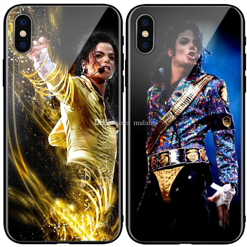 Michael Jackson Top the King phone Case Tempered glass phone Cover MJ For iPhone 6s 7 plus 8 + Xr XS Max