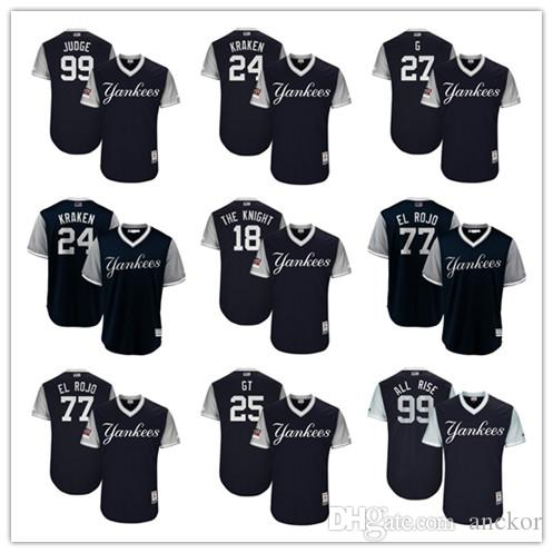 new style a6446 21379 New York 24 Gary Sanchez 27 Giancarlo Stanton 99 Aaron Judge Kraken Yankees  Majestic 2018 Players Weekend Authentic Baseball Jersey