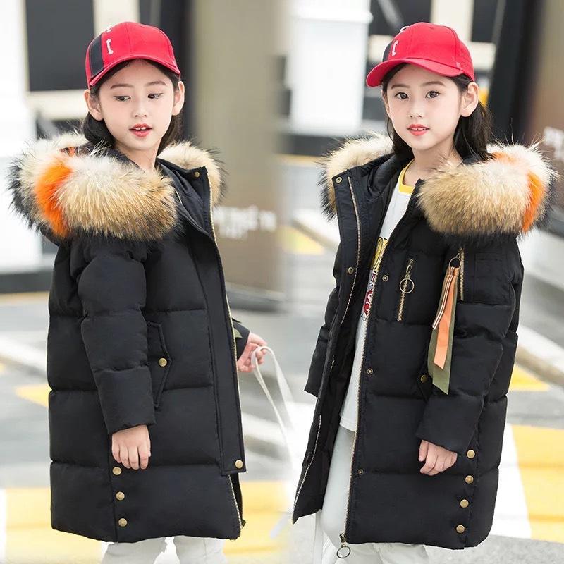 49eef2e0b6f2 Girls Long Down Jackets Kids Coat Outerwear 2018 Winter Children ...