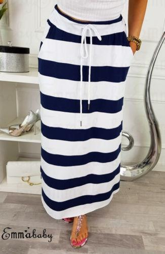 7eae8262c Women Vintage Stretch High Waist Navy Blue Red Striped Plain Long Beach  Casual Skirt Yellow Maxi Dress With Sleeves White Women Dresses From  Jincaile04, ...