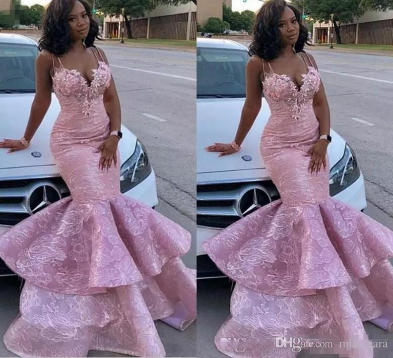 2019 Mermaid African Black Girl Prom Dresses Lace Floral Appliques Beads  Spaghetti Tiered Skirts Luxury Evening Dress Party Wear Custom Made Prom  Dresses ... 3ea43e53a48d