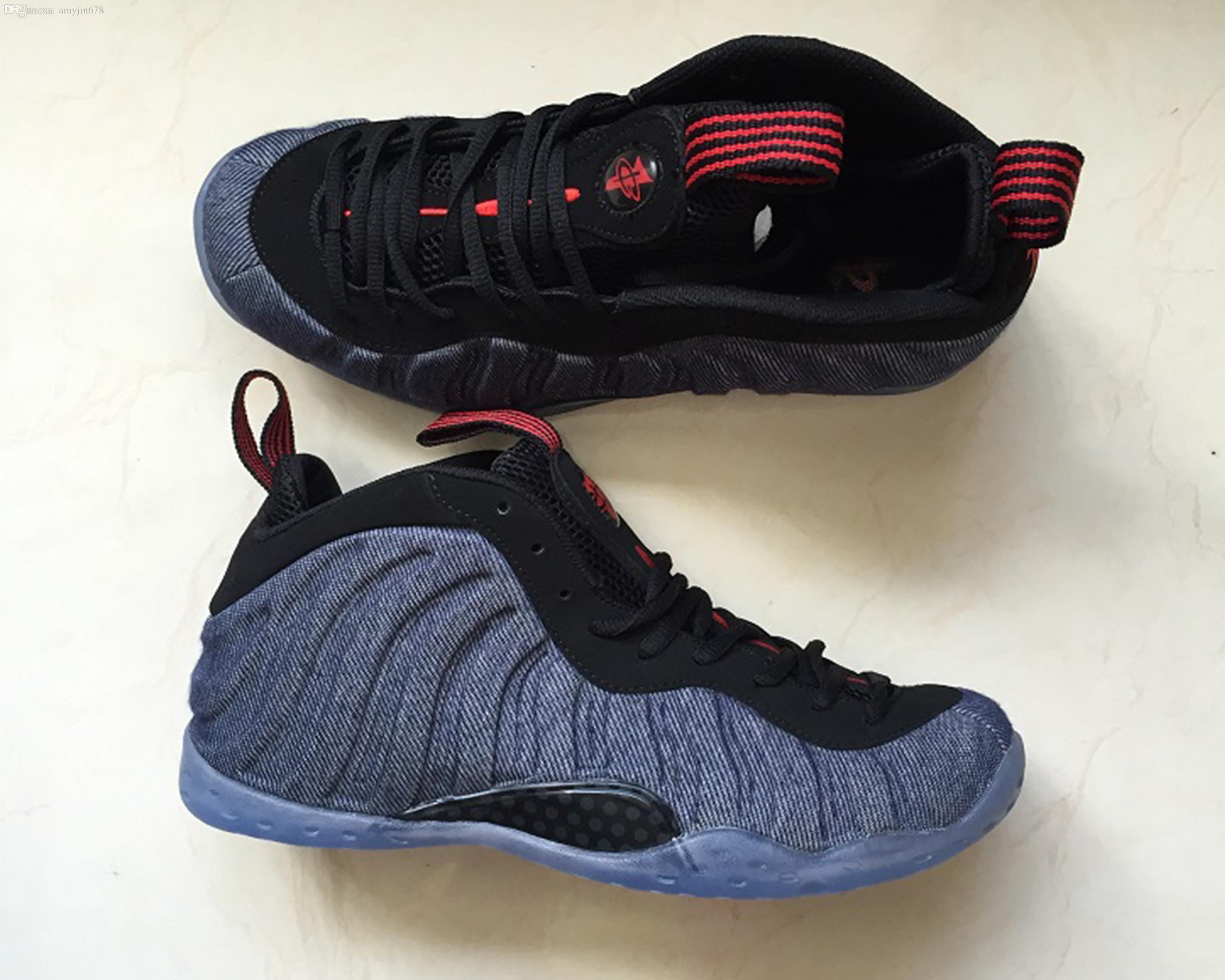 7284e85cabf 2019 New Penny Hardaway Foams Men Shoes AAA+Quality Blue Denim Hardaway  Designer Foam One Mens Fashion Casual Shoes 40 47 Wholesale Shoes Cool  Shoes From ...