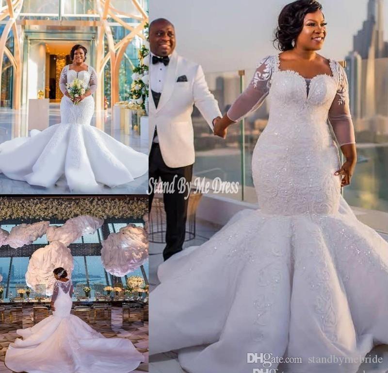 5dc21eb98093 Acquista 2019 Abiti Da Sposa A Sirena Sudafricana In Pizzo Appliques Plus  Size Sheer Maniche Lunghe Abiti Da Sposa Satin Sweep Train Wedding Vestidos  Dress ...