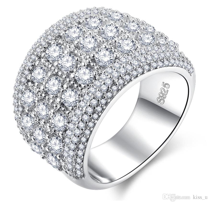 Cubic Zirconia White Ring regalo 2019 New Luxury Silver Engagement Ring Fedi nuziali per le donne
