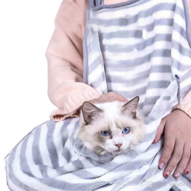 Cat-carrying backpack Coral velvet rabbit hug cat hair apron anti-stick hair hug dog clothes hold for puppy cat pocket bag