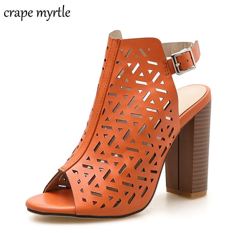 Compre Naranja Mujeres Sandalias Gladiador Tacones Altos Correa Bombas  Hebilla Correa Moda Verano Botas Para Mujer Zapatos Negro Tamaño 35 40  YMA574 A ... e0b51636bc6d