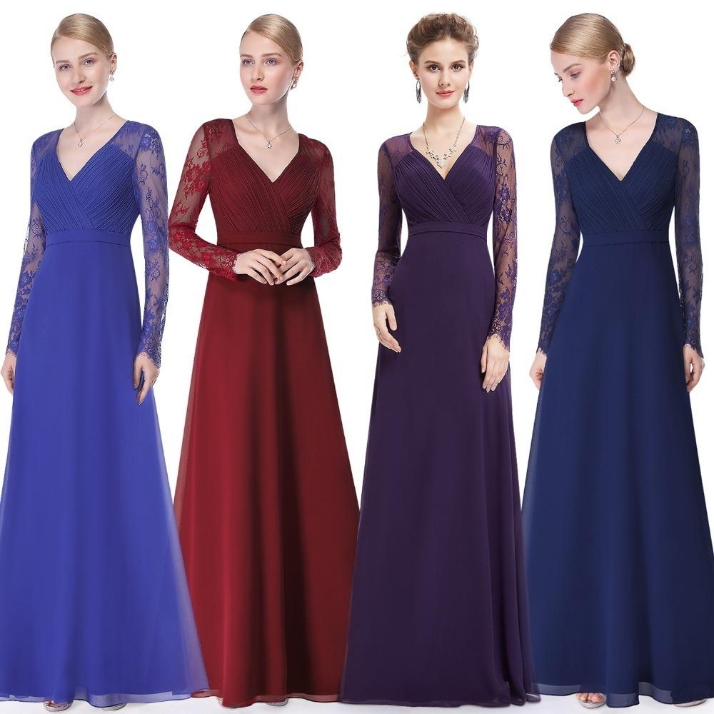 9d721d8f0e3 Formal Evening Dresses Ever Pretty EP08692 Women S Autumn Elegant V Neck Long  Sleeve Lace Plus Size Prom Evening Party Gowns D18122903 UK 2019 From  Xiao0002 ...
