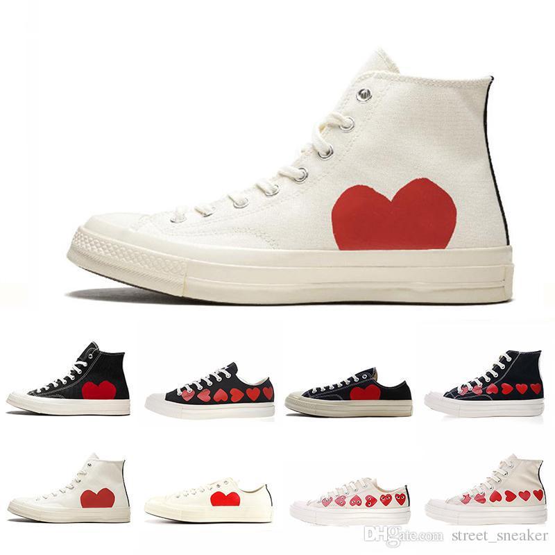 3460e29e4b720 Compre Diseñador Conver Brand CDG X Converse Chuck Taylor All Stars CDG  Zapatos De Lona Big Red Eyes Hearts Brand Beige Negro Moda De Lujo  Skateboarding ...