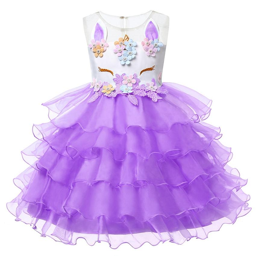 f036f3f8a87 2019 Kids Baby Girl Sleeveless Unicorn Ruffle Beading Floral Mesh Lace  Tulle Tutu Dresses Princess Cosplay Flower Party Dress SSA234 From  B2b life