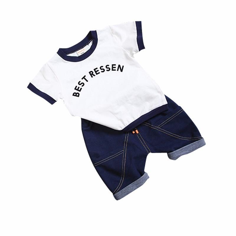 2019 New Hot 2PCS Suit Summer Children Boys Girls Clothes Sets Kids Cotton Letter Short Sleeves T-Shirt Toddler Child Clothing