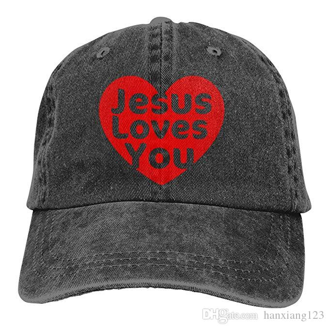 ba162653613 2019 New Wholesale Baseball Caps Jesus Loves You Mens Cotton Adjustable  Washed Twill Baseball Cap Hat UK 2019 From Hanxiang123