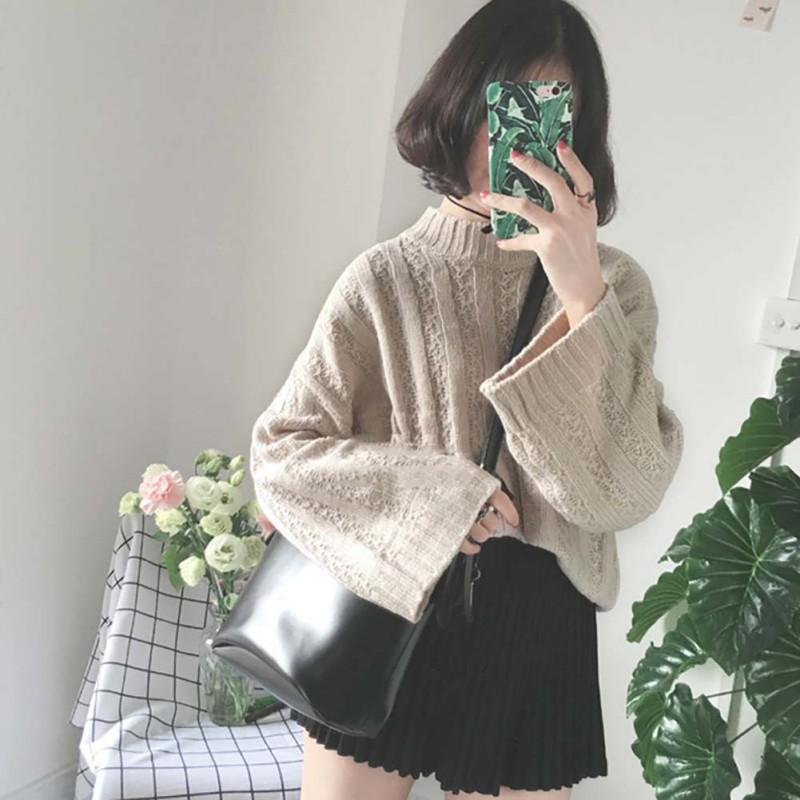 Women Casual Solid Long Sleeve Knitted Sweaters Autumn Winter Half Turtleneck Loose Sweater Warm Pullover Sweater pull femme