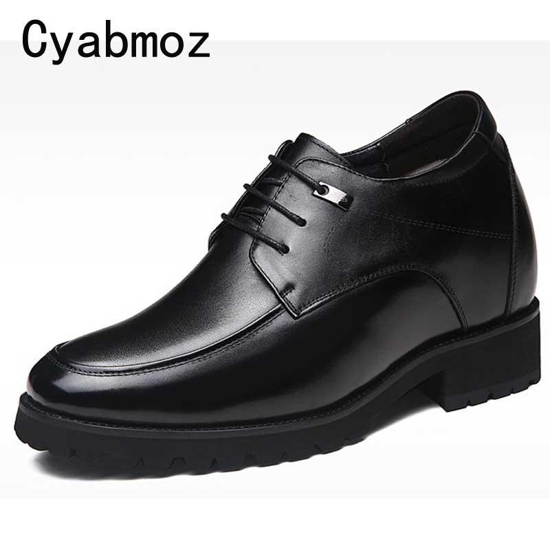 fddbaf17f2 Compre Homens De Couro Genuíno Elevador Sapatos Lace Up Hidden Heel  Elevadores Mais Altura 12 Cm 8 Cm Sapatos Casuais Altura Crescente Festa De  Casamento ...