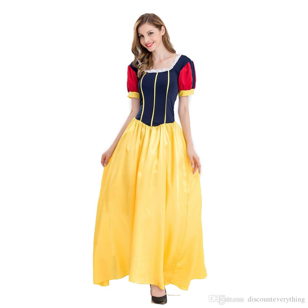 0210f329b0b New Halloween Long Princess Dress Party Snow White Cosplay Stage  Performance Costumes Fairy Tale Clothings