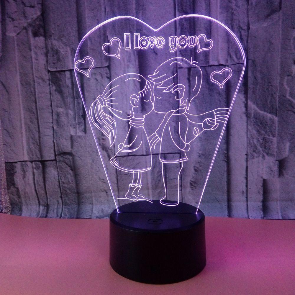 Touche Lampe Je T Aime Marry Led Romantique De Figure Colorée Modèle Cadeau Personnalisé 3d Baiser PuOXikZ