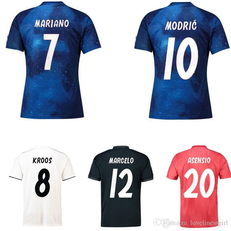 the latest 55aac 1771a 18 19 atletico madrid soccer team jerseys kids BALE MODRIC MARIANO BENZEMA  KROOS Real Madrid Football shirts clothes Men Women uniforms