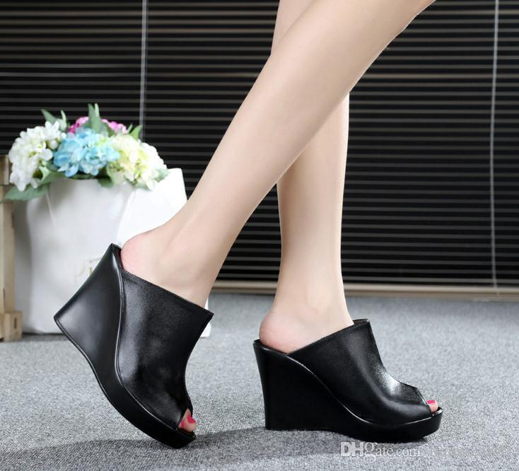Wedge slippers female leather summer thick bottom fish mouth sandals non-slip black fitting shoes outdoor waterproof platform high heel sand