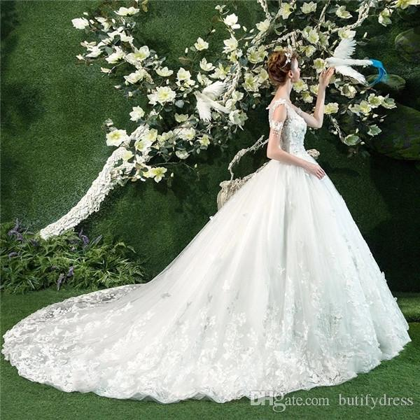 Wedding Dresses Crystal Bridal Ball Gowns Backless Elegant High Quality Long Train Strapless Brides Dresses Chinese Factory Man Made