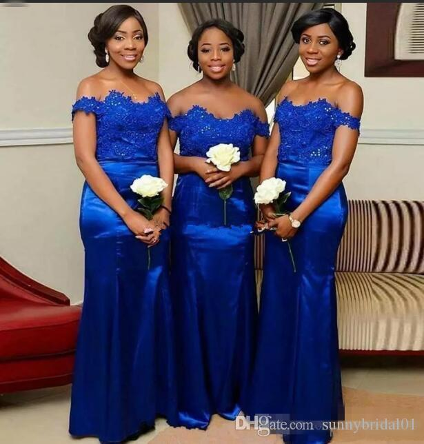 Royal Blue Mermaid Bridesmaid Dresses Off