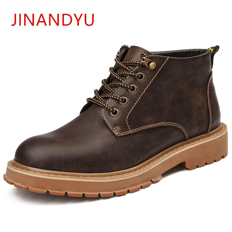 96c981a5902 High Top Work Shoes Men Leather Boots Spring Autumn Men's Work Boots  Outdoor Casual Lace Up Tooling Shoes Motorcycle 2019
