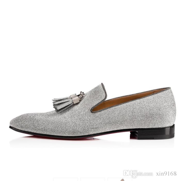 6cd455f84257 Modern Gentleman Red Bottom Moccasin Rivalion Flat Glitter Genuine Leather  Loafers Luxury Brand Silver