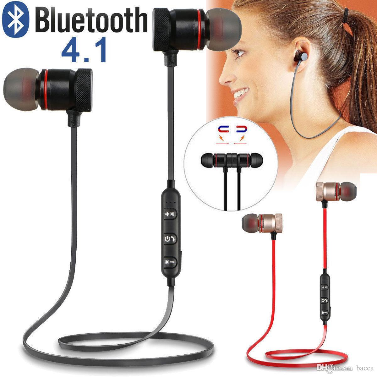 Music Magnet Metal Sports Bluetooth Earphones Stereo Wireless Earbuds Headset With Mic for Phones xiaomi Huawei Mobile Phones