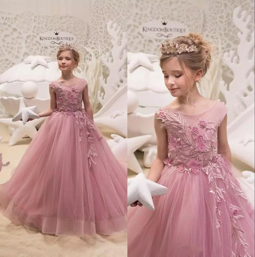 Cute Cheap Flower Girl's Dresses Sheer Neck Ball Gown Satin Baby Girl Birthday Party Pageant Dresses GIrl Pageant Gowns
