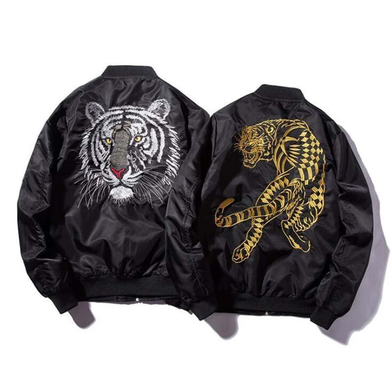 New Bomber Mans Jackets Embroidery Golden&white Tiger Jacket Mens MA1 Pilot Bomber Jacket Male Embroidered Thin Coats