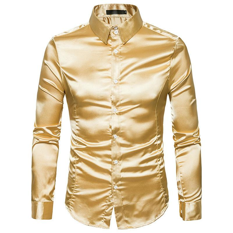 5aa1740a8f48e7 Silk 2018 Satin Smooth Men Solid Tuxedo Shirt Business Chemise Homme Casual Slim  Fit Shiny Gold Wedding Dress Shirts C19011001 Online with  23.19 Piece on  ...