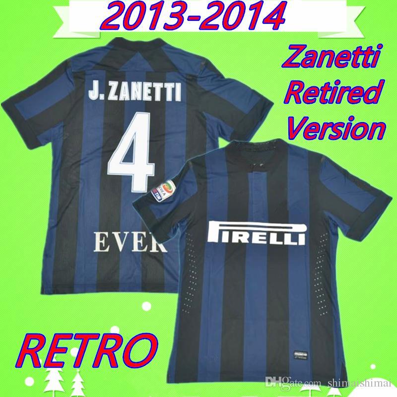 new product 07d32 e1844 #4 J.ZANETTI 2013 2014 inter RETRO soccer jersey 13 14 classic vintage  milan football shirt # 9 Icardi camicia Palacio Maglia da calcio