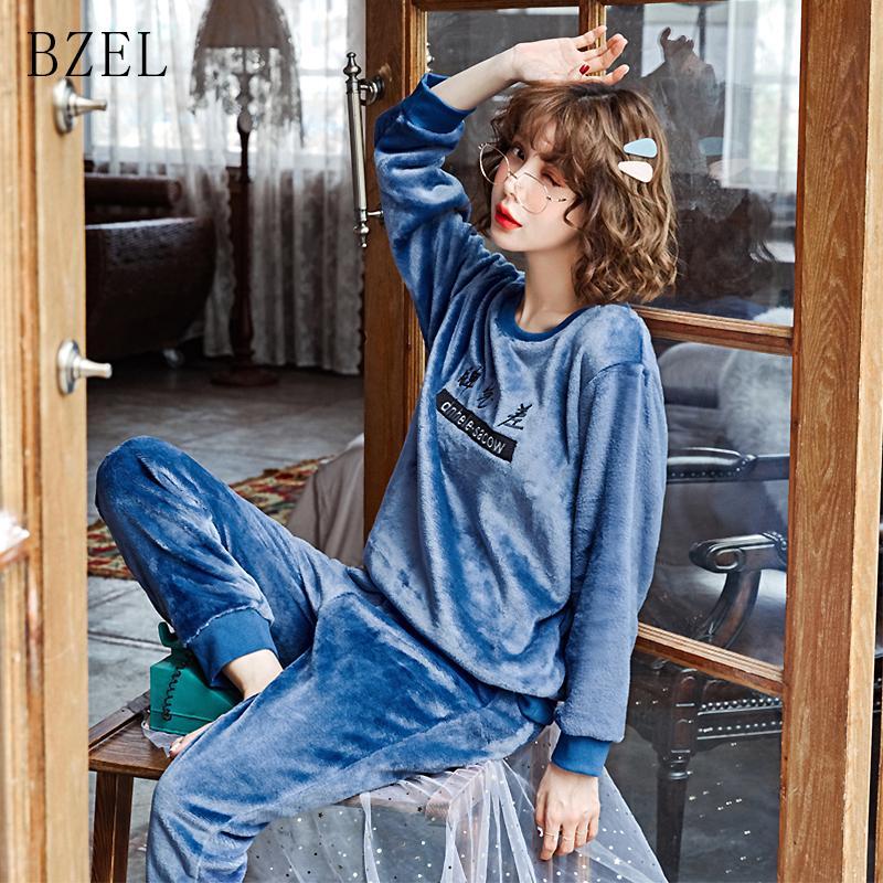 quantità limitata migliore vendita assolutamente alla moda BZEL Girocollo Pigiama Invernale da donna Flanella di flanella pesante  Completo da completo a maniche lunghe + Pantalone Blu Flano Sleepwear M-2XL