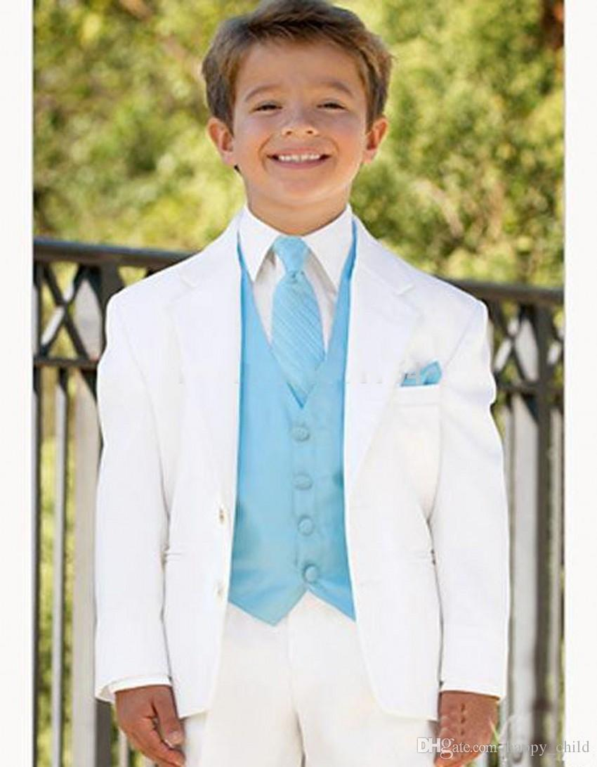 Style White Boys Formal Occasiontuxedos Notch Lapel Two Button Kids