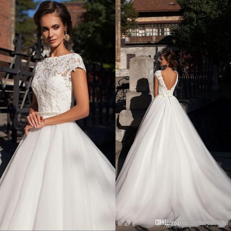 Discount Cap Sleeves Lace Wedding Dresses With Beaded Sash 2019 Vintage  Open Back Short Sleeves Plus Size Puffy Bridal Gowns Beautiful Wedding Gowns  Best ... 62693cc0c