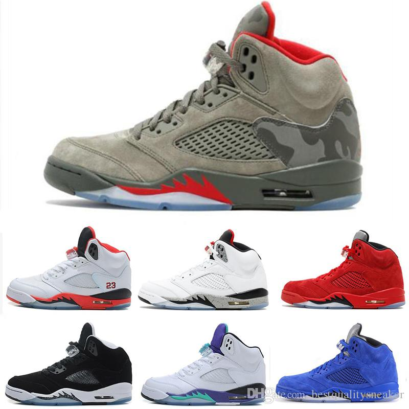 d3e19bd079ae 2019 5 5s Mens Basketball Shoes International Flight Metallic 3M Reflect  Black Grape Oreo Red Suede CDP White Cement Designer Sneakers US 7 13 From  ...