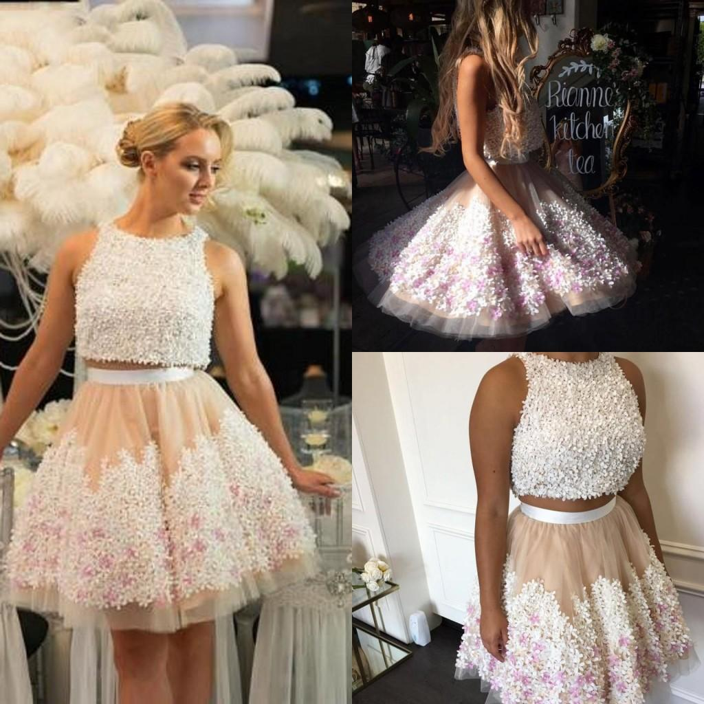 a8dbcc464bd Piece Short Homecoming Dresses A Line Jewel Neck Mini Prom Party Dress With  3D Appliques Zipper Back Cocktail Dresses Affordable Formal Dresses Casual  ...