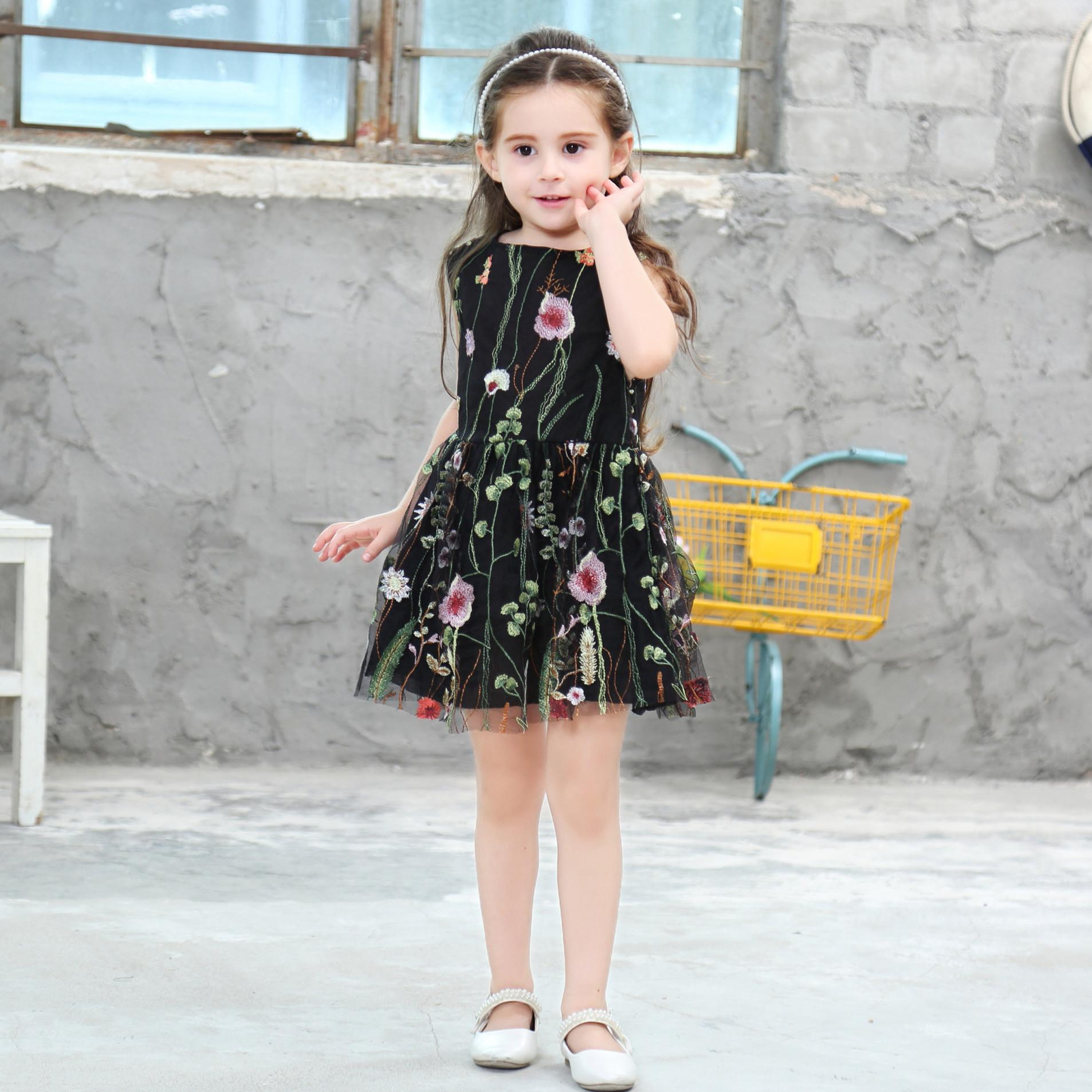 caf01004fd71 2019 Girls Vest Dresses Floral Prints Princess Backless Sleeveless Lace  Black Sweet Summer Party One Piece 100cm 140cm From Bowie1228a, $17.74 |  DHgate.Com