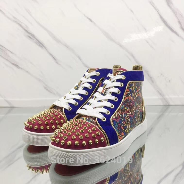 High Top Cl Andgz Blue Butterfly Flower Gold Rivets Outdoor Red Bottom Shoes  Sneakers Leather Loafers Man Flat Footwear Lace Up Cheap Shoes Online  Summer ... d9e915f5a893