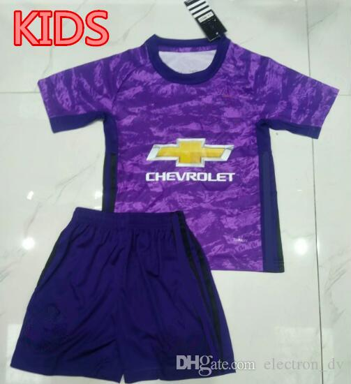 quality design 405e1 c0e13 2019 2020 Kids Man Utd goalkeeper jerseys #1 DE GEA Short Sleeve Sleeve  Youth Goalie Kits Purple uniforms Kit