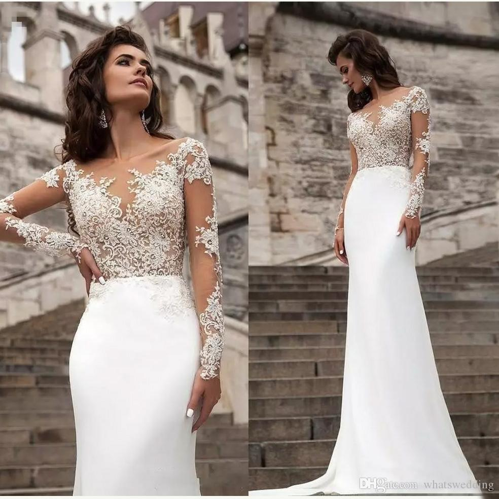 Sexy Sheer Long Sleeves Lace Wedding Dresses 2019 Milla Nova Beach A Line Sweep Train Button Back Bohemian Wedding Dress Bridal Gowns