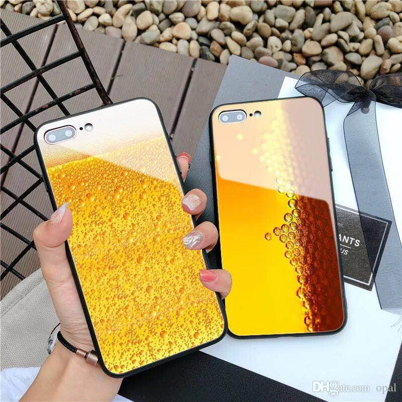 new arrivals 7e8c5 4cdf6 New cool beer glass for iphone X glass phone case for iphone 8 7 plus 6s  creative men and women
