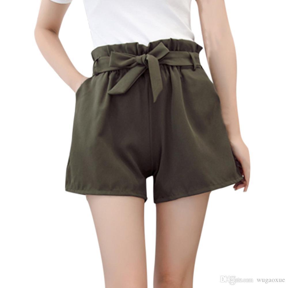9fb9521440f3 Pantalón corto para mujer Feitong Summer Fit Solid Cintura alta y elástica  A-Line Casual Tie up Cinturón Corto tallas grandes shorts para mujer ...